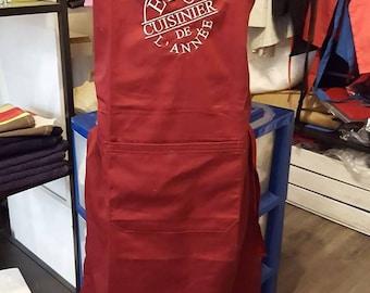 man with custom towel apron