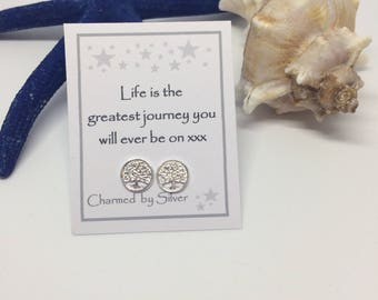 Sterling Silver Tree of Life stud Earrings with Message