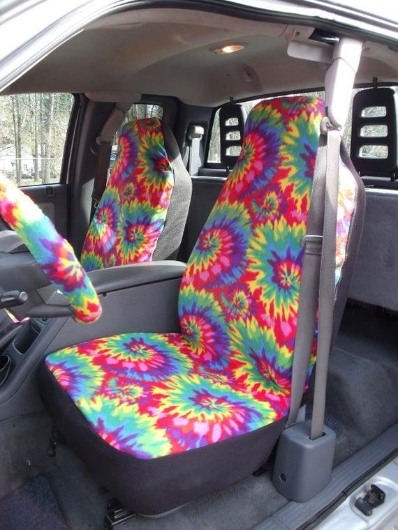 1 Set Of Rainbow Tie Dye Print Seat Cover And Steering Wheel