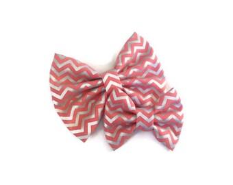 Coral Chevron Bow | Fabric Bow | Handmade Hair Bow | Hair Clip | Headband