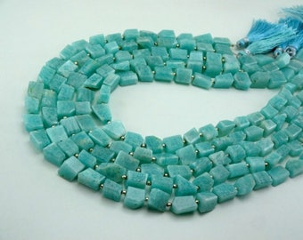 18-inch AAA quality Natural Amazonite step cut nugget 8.5-12.5mm 182cts 7379
