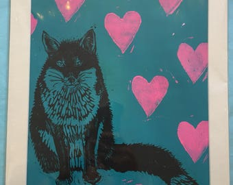 Fox and Heart, Hand-pulled lino block print