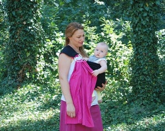 Pink Baby Sling / Black ring sling /Pink baby sling /Baby Carrier sling /Reversible Baby Sling/ Baby Wrap sling /Baby carrier
