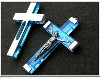 One French Vintage cross  crucifix in silver tone metal blue  lucite vintage pendant charms Sky blue crucifix