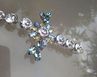 French vintage Signed Christian Lacroix diamond like crystal brooch pendant ornate brooch Baroque Heart cross Shaped Paris Made in France