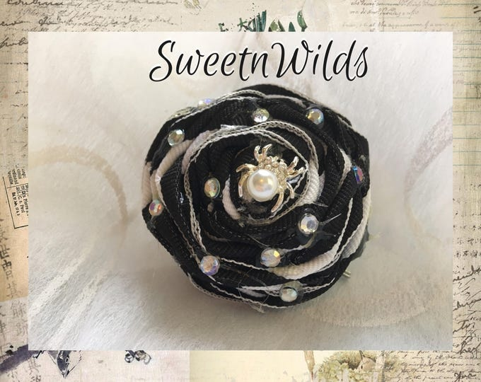 Black and White Pin- Shabby Flower Brooch- Spider Clip -READY TO SHIP-Rolled Rose