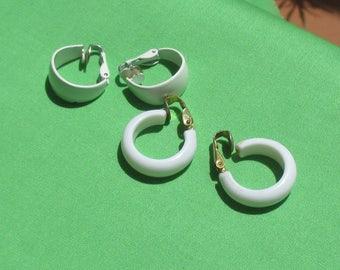 Lot Of Retro White Hoop Clip On Earrings