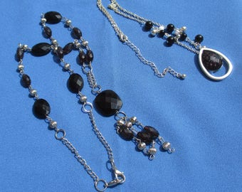 Lot Of Retro Black Beaded Necklaces