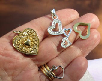 Lot Of Heart Shaped Pendants One Marked RMN One Missing Dangle