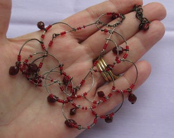 Retro Red Glass Beaded Broken Dangling Wire Center Necklace Repair Repurpose