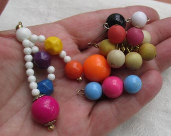 Lot Of Salvaged Colorful Beaded Dangles & Loose Bead