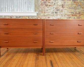 Lovely Pair of Vitre Petite Danish Teak Chests