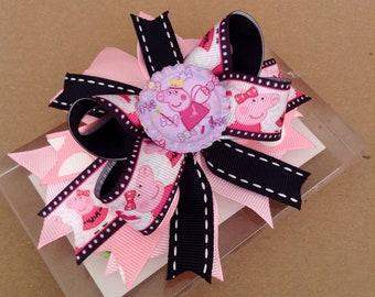 Pink & Black Peppa Pig Inspired Hair Bow, Peppa Pig Baby Headband, Girl Hair Bow , Peppa Pig Birthday Hair Bow !!!
