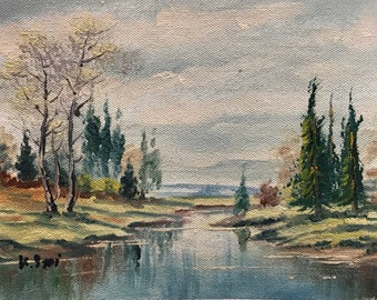 vintage oil painting wilderness nature stream number P14