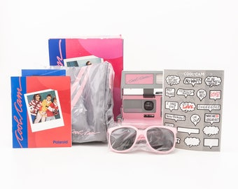 New Pink and Gray Polaroid Cool Cam with soft case pink sun glasses, original stickers, and manual - NIB NOS never used
