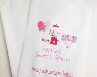 ON SALE Sweet Shop Birthday Favor Bags, Candy Buffet Bags, Candyland, Favor Bags, Burthday Party Bags