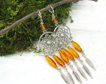 Natural Amber Dream Catcher earrings, Extra long 4.5 inch chandelier earrings, handmade artisan Baltic Amber jewelry, 925 sterling silver