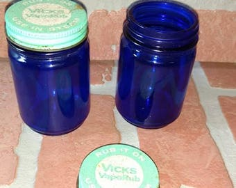 vintage BLUE GLASS VICKS jars both lidded  used anitque cobalt blue apothecary glass bottles jars
