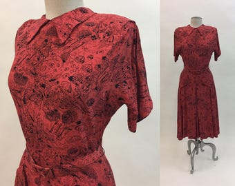 Vintage 1940s Red Novelty Dress / 40s Rayon Print Dress