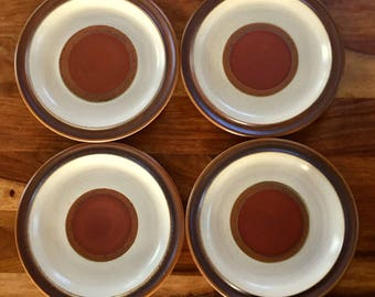 "Vintage Denby Langley Potters Wheel Rust Red 10"" Dinner Plate Set of 4"