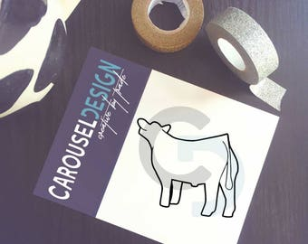Show Cattle Steer - 3/4 Outline Vinyl Sticker