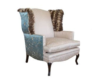 Silk and Fur Vintage Wingback Chair