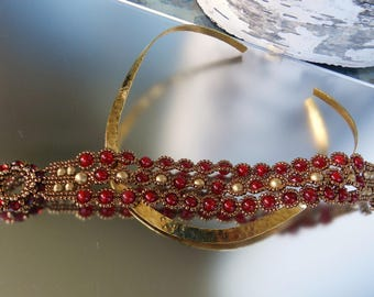 SOLD Ruby Gold Bracelet Holiday Season Red Gold Lacy Hand Beaded Crystals Seed Beads Bracelet  Elegant Night Out Jewelry Christmas Gift