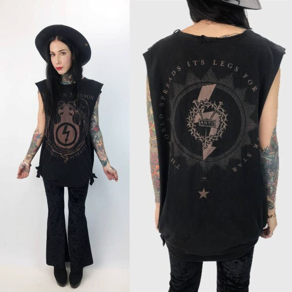 96' Marilyn Manson Antichrist Superstar Tank S/M - GothMetal Band Sleeveless Shirt w/ Tie Sides Black - Marilyn Manson Vintage Cut Shirt