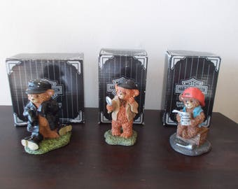 Genuine~Vintage~Harley Davidson~Ornament~Figurine~Little Cruisers~Set 0f 3~Harley Biker Bears~1997~Original Packaging~Harley Collectable