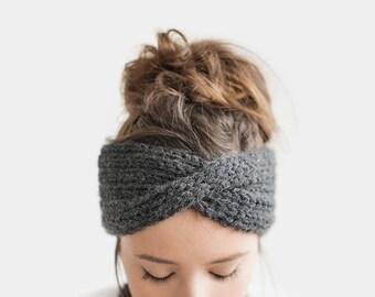 Hand Knit Turban in Dark Grey, Chunky Rib Turban, Warm Womens Turband, Custom Color Turban, Winter Headband