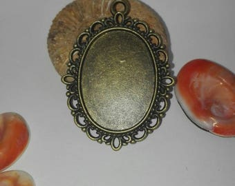 Oval Pendant 38 * 2 * 28 mm, bronze color for 25 * 18mm cabochons