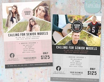 ON SALE Senior Photography Marketing Session - Photoshop Template  - IS007- Instant Download