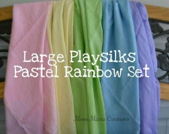 Playsilks, Pastel Rainbow Set of Five Waldorf Inspired Large Play Silks, 35 x 35. Natural Toy, Open Ended Play, Dress Up, Montessori. Light