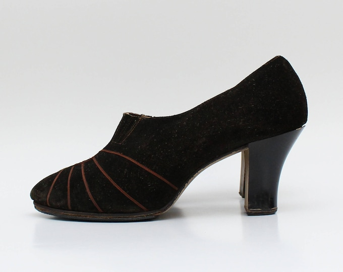 Vintage 1940s Brown Suede High Heel Shoes - Size 7.5