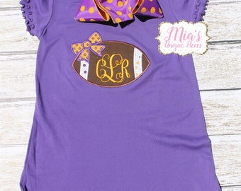 Monogrammed Purple and Gold Football Dress, Purple and Gold, Tiger Dress, Football Dress, Toddler Dress