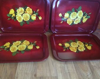 Set of 4 Vintage Red Flower Tin Metal Trays