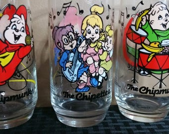 Vintage 1985 Alvin and The Chipmunks Drinking Glasses Set of 3 All Different