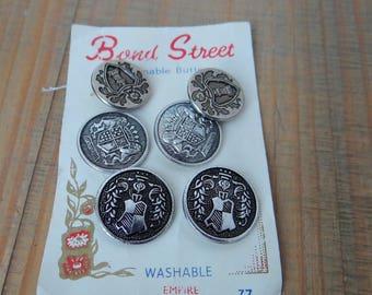 Vintage Buttons Set, Bond Street, Set of Six Buttons, Metal Buttons Circa 1950s/1960s