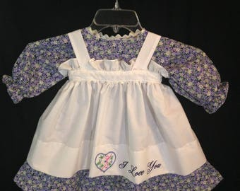 Dress and Apron for 30 INCH Raggedy Ann Doll; Lavender floral print dress with rickrack apron