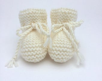 Merino Wool Baby Booties in Cream