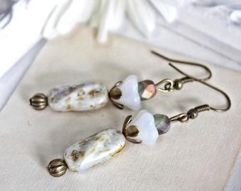 Earrings BOHO FLOWERS shades of white Pearl flower