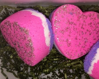 Better than Sex Large pink and purple colored heart bath bomb, Chanel-no.5 scented, big bubbly bath bomb, big bath fizzy, heart