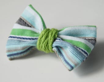 44 blue green gray white striped bow brooch