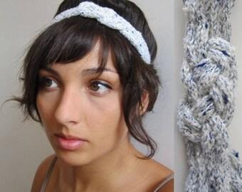 banner 19 knitting blue spotted white sailor knot headband
