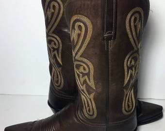 LUCCHESE 1883 Brown Leather Cowboy Cowgirl Riding Boots Women's Size 10 B