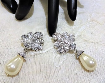 Gorgeous Vintage Princess Michaela Von Habsburg (MVH) Rhinestone Faux Pearl Dangle Earrings