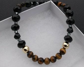 Men Bracelet/14k Gold Filled/Tigers Eye/Bead/Faceted