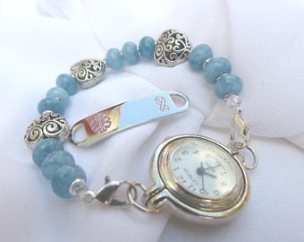 Interchangeable Medical ID Tag or Watch Stretchy Beaded Bracelet