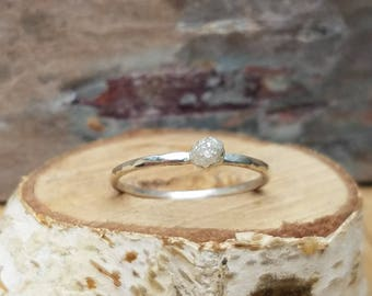 Raw diamond ring rough diamond ring uncut diamond ring engagement ring wedding ring hammered sterling silver diamond ring one of a kind