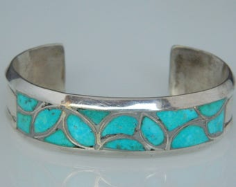 Native American Zuni Channel Turquoise Inlay Sterling Silver Vintage Cuff Bracelet 1.4 oz